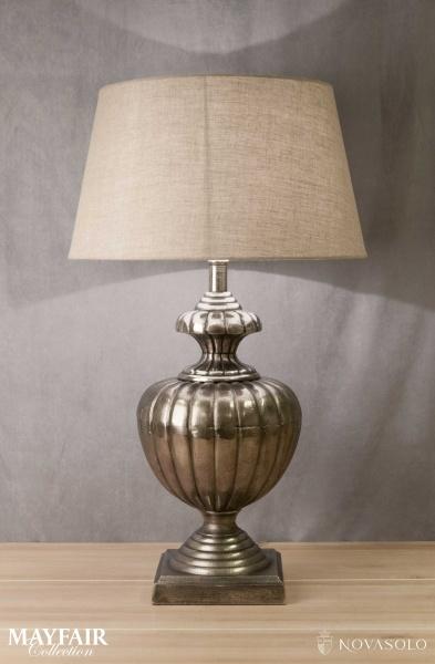 Oppsiktsvekkende Mayfair bordlampe med rund skjerm (Antikkgrå - 88 cm) - NovaSolo.no MA-72