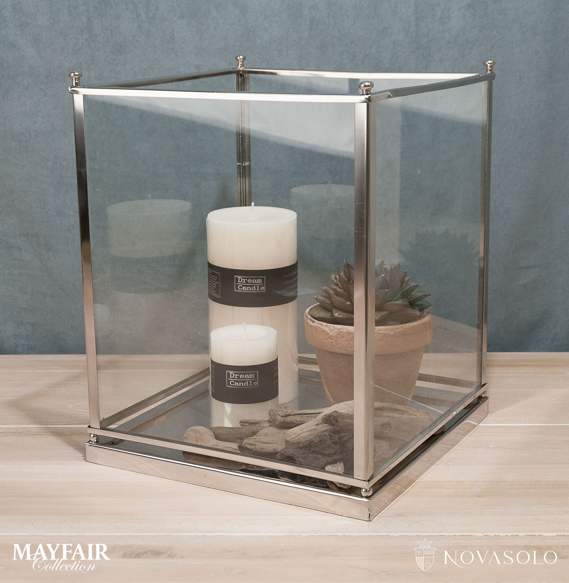 Opprinnelig Mayfair lykt i glass og krom (stor) - NovaSolo.no NO-43