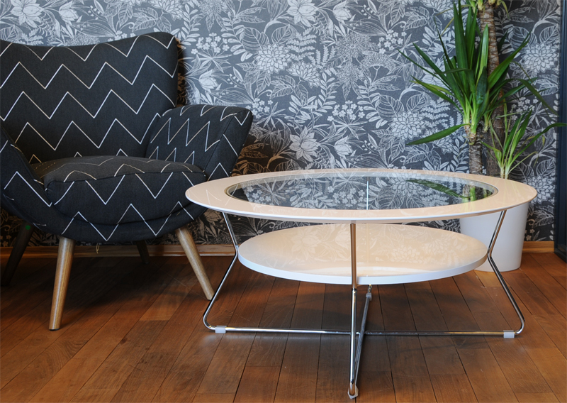 Cleo rundt glass sofabord - NovaSolo.no